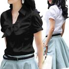 Womens Cotton Short Sleeve Blouse Vintage Shirt Casual Ladies Bow Top Size