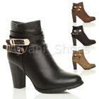 WOMENS LADIES HIGH BLOCK HEEL STRAPPY DOUBLE GOLD BUCKLES ZIP ANKLE BOOTS SIZE