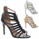 WOMENS LADIES STRAPPY OPEN PEEP TOE ZIP UP STILETTO HIGH HEEL SANDALS SHOES SIZE