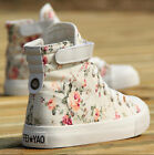 Women's Fashion Sneakers Canvas Floral Velcro High Top Flat Heel Casual Shoes Sz