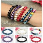 Casual Women Pearl Beads Silver Spacers Mixed Stretch Bracelet Chic Jewelry Hot