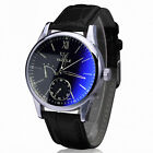 Luxury Fashion Dress Watch Mens Watch Faux Leather Band Blue Ray Glass Best Sell