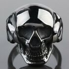 316L Men's Stainless Steel Black Death Skull Head Polishing Biker Finger Rings