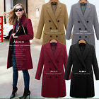 2016 lady Double Breasted Winter wool blend Long Trench Coat jacket plus size