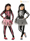 Age 4-12 Girls Skeleton Tutu Halloween Fancy Dress Costume Kids Childrens Party