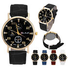 Men's Leather Strap Stainless Steel Analog Quartz Fashion Business Wrist Watch