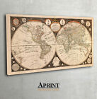 Vintage Map of world, Thomas Kitchen, archival print, canvas wall art decor