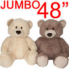 "48"" GIANT JUMBO LIFE SIZE TEDDY BEAR PLUSH SOFT CUDDLY GIFT PRESENT BIG HUGE NEW"