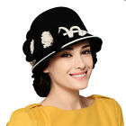Womens Elegant Winter Flower Wool Felt Cloche Hat Wedding Formal Church A249