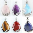 Crystal Quartz Gems Stone Teardrop Inlaid Flower Leaf Bead Pendant Fit Necklace