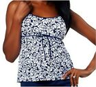 Fit 4 U Hips Abstract Roses Drawstring Skirtini Top Navy/White Size 8 A220956