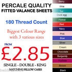 FITTED VALANCE SHEETS NON IRON PERCALE PLAIN DYED POLYCOTTON SINGLE DOUBLE KING
