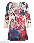 MARISOTA COTTON 3/4 SLEEVED EMBELLISHED FLORAL TUNIC TOP DRESS SIZE 14 LAST ONE