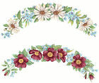 Ceramic Decals Daisy and Wild Rose Flower Plate Edge Rim Border Blue Floral