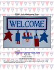 July/Patriotic Welcome Sign-Uncle Sam- Stars-Plastic Canvas Pattern or Kit