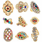 10pcs Assorted Crysal Rings Wholesale Lot Gold Plated Delicate Fashion Jewelry