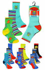 Boys Vibrant Printed Cotton Rich Socks New Childrens 3PK Colourful Novelty Socks