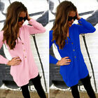 New Womens Loose Long Sleeve Chiffon T shirt  Blouse Casual Mini Shirt Dress Top