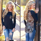 Sexy Womens Ladies Long Sleeve Sexy Leopard Chiffon Shirt Tops Blouse T-Shirt