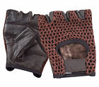 LEATHER FINGERLESS GLOVES BIKER DRIVING CYCLING WHEELCHAIR GYM PADDED RAWHIDE **
