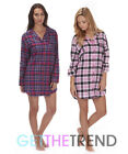 Womens Cotton Flannel Check Nightshirt Ladies Long Sleeve Button Front Shirt