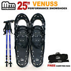 "New MTN 25"" BLACK All Terrain Snowshoes + Nordic Pole + Free Carrying Bag"