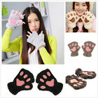 Cute Cat Claw Paw Plush Mittens New Chic Fingerless Gloves Half Finger Winter
