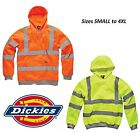 MENS DICKIES HI VIS HIGH VIZ VISIBILITY HOODY HOODED FLUORESCENT SWEATSHIRT SIZE
