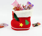 Christmas Tree Decor Red Flocking Christmas Boot Candy Container Bag