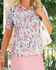NEW LADIES WOMANS SPRING SUMMER HOLIDAY CRINKLE PINK POPPY TOP SIZE 14 16 UK
