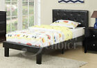 Simple Teen Kids Bedroom Twin or Full Bed Black Faux Leather Headboard Tufted