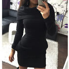 Womens Ladies Hooded Hoody Sweatshirt Long Sleeve Bodycon Hoodies Jumper Dress