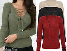 Women Ladies Tie Lace Up V Nack  Knitted Stretched Ladies Long Sleeve Jumper Top