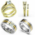 Size 5-15 18K Gold Wedding Engagement Ring Pair Princess Cut Anniversary Promise