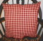 "UNSTUFFED Primitive Pillow Country Decor 18x18"" or 18x14"" Cherry Red Tan Cover"