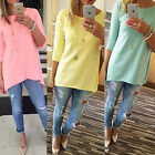 New Fashion Womens Loose Pullover Tee Shirt 3/4 Sleeve Cotton Tops Shirt Blouse