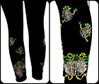 Plus Black / White Full Length Leggings Rhinestone Embellished Xmas Sleigh Bells