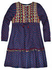 Girls Long Sleeved Aztec Dress New Kids Cute Party Dresses 100% Cotton 2-10 Yrs
