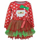 Christmas Santa Claus Tutu Clothing Long Sleeve Top Tulle Outfits Fancy Dress Up