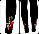 Regular & Plus Size Full-Length Leggings Embellished Trio of Holiday Candy Canes