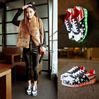 Unisex LED Light Lace Up Girl Women Flats Board Sneaker Loafer Casual Shoes NB80
