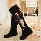 Women's Sweet Girls Print Pull On Knee High Boots Faux Suede Pointy Toe Shoes Sz