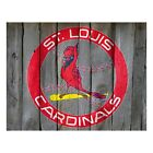 St Louis Cardinals Vintage 80s Logo Wood Sign Wall Art Print Baseball Gift Photo