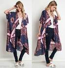 New UMGEE Navy Vintage French Paisley Wrap Duster Cardigan Boho Chic S/M M/L