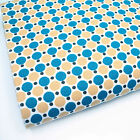 MUSTARD & TURQUOISE  -  DOUBLE DOT GEOMETREIC 100% COTTON FABRIC 160cm OEKO-TEX
