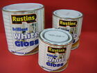 RUSTINS BRILLIANT WHITE GLOSS PAINT VARIOUS SIZES