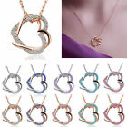 Fashion Gold Silver Plated Double Heart Pendant Necklace Chain Women Jewelry