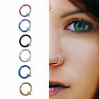 2PCS Fake Stud Earrings Goth Punk Clip On Piercing Body Nose Lip Rings Hoop Ear