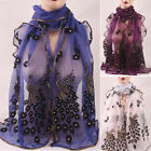 New Women Peacock Scarf Long Soft Scarf Wrap Scarves Vintage Stylish Shawl UKEW