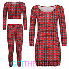 Girls New Tartan Printed Crop Top Leggings Set Girls Check Print Midi Dress 7-13